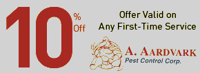 Exterminator and Pest Control in Staten Island NY | A. Aardvark | 10% Off - Offer Valid on Any First-Time Service